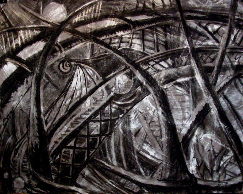 """Escalator Up To The Exit on the Boat Ride / 30"""" x 40"""" charcoal, pastel, acrylic on board"""
