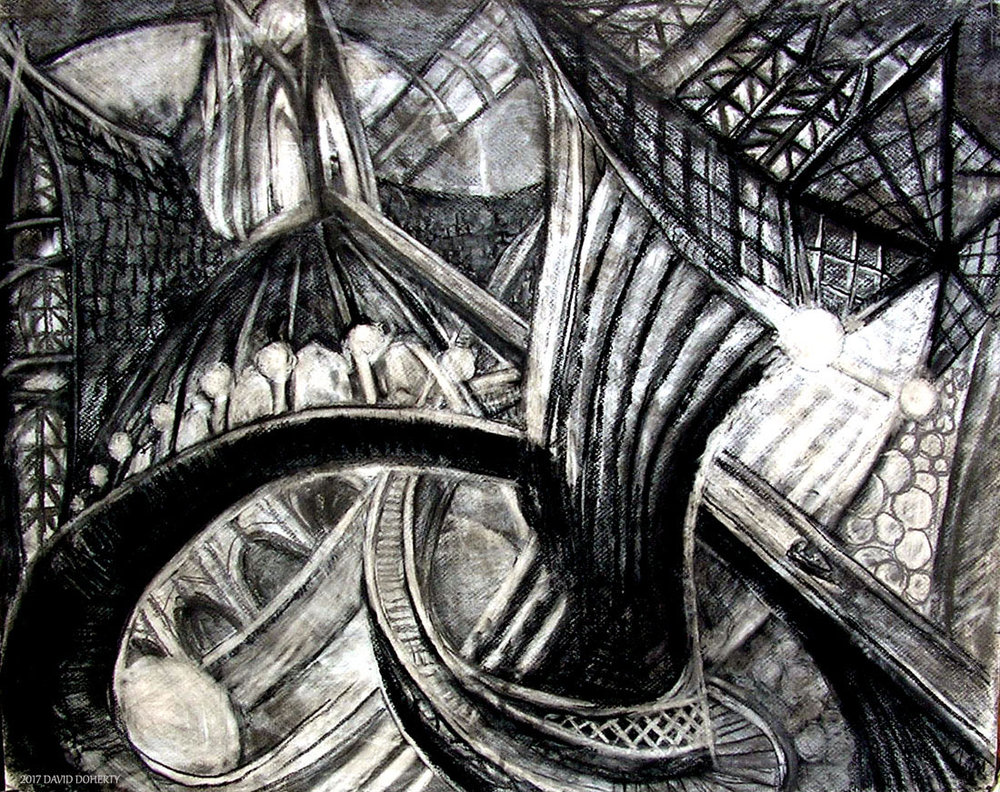 "In and Out of the Past on the Boat Ride / 30"" x 40"" charcoal, pastel, acrylic on board"