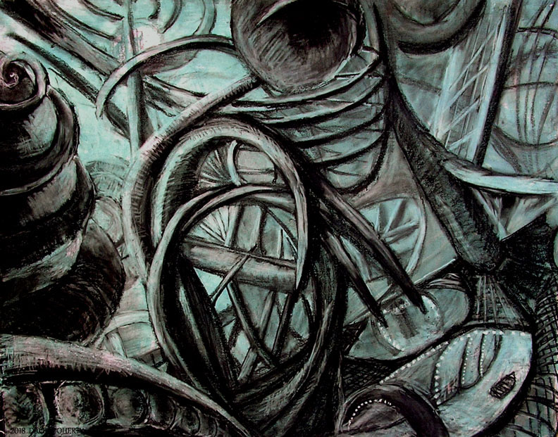"""The Raven Room on the Boat Ride / 30"""" x 40"""" charcoal, pastel, acrylic on board"""