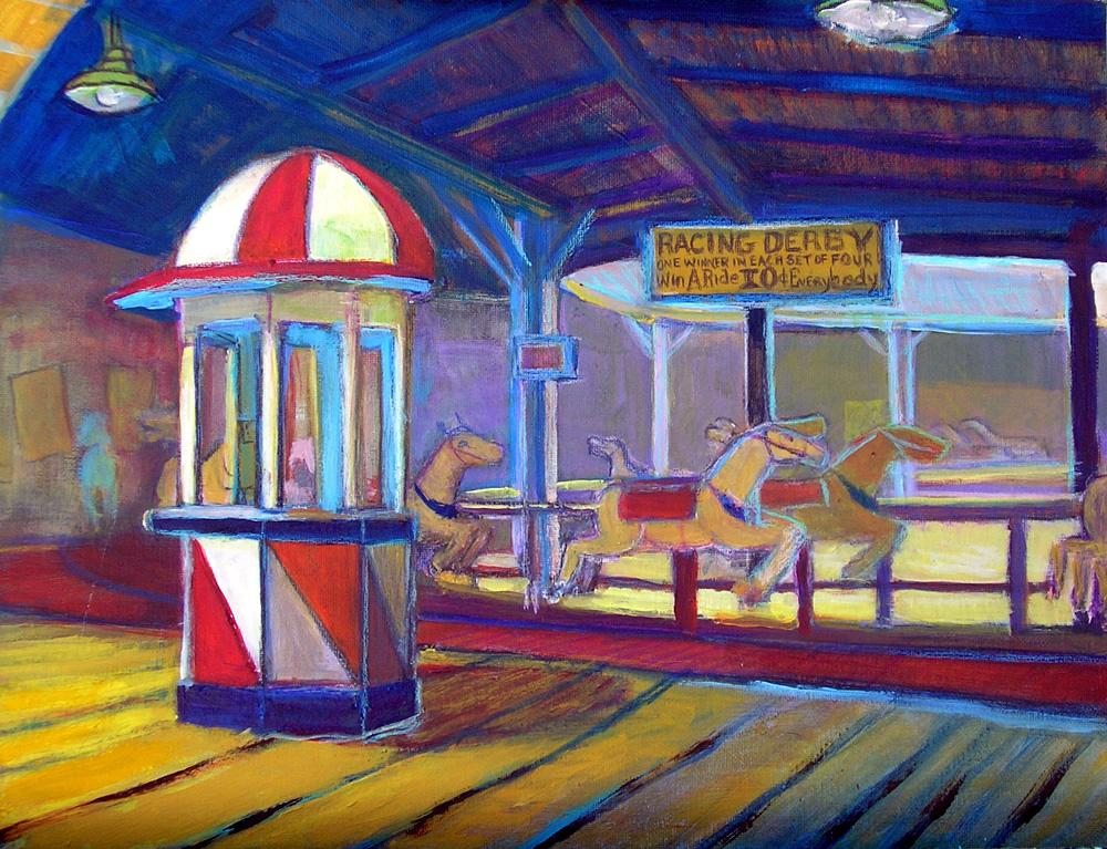 "Derby Races on Ocean Park Pier / 15"" x 20"" acrylic on board"