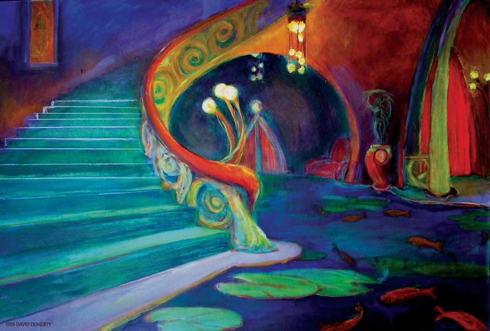 """The Plume Theater Lobby /  20"""" x 30"""" charcoal, acrylic, watercolor pencil on board"""