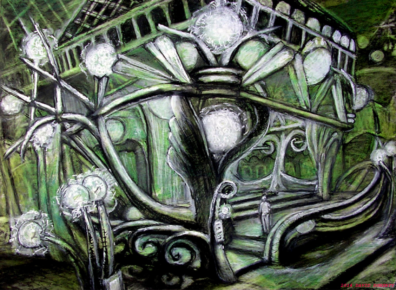 """The Green Lantern Cafe / 15"""" x 20"""" charcoal, pastel, acrylic on board"""