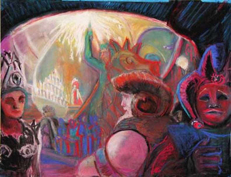 """The Red Masque Ball / 20"""" x 30"""" pastel on paper"""
