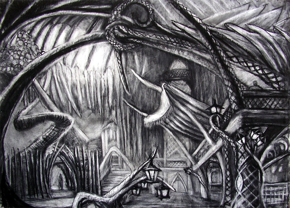 """Razing the Park / 30"""" x 40"""" charcoal, pastel on paper"""