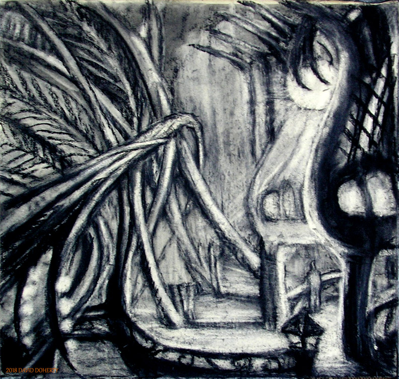 "The Oasis / 21"" x 22"" charcoal, pastel on paper"