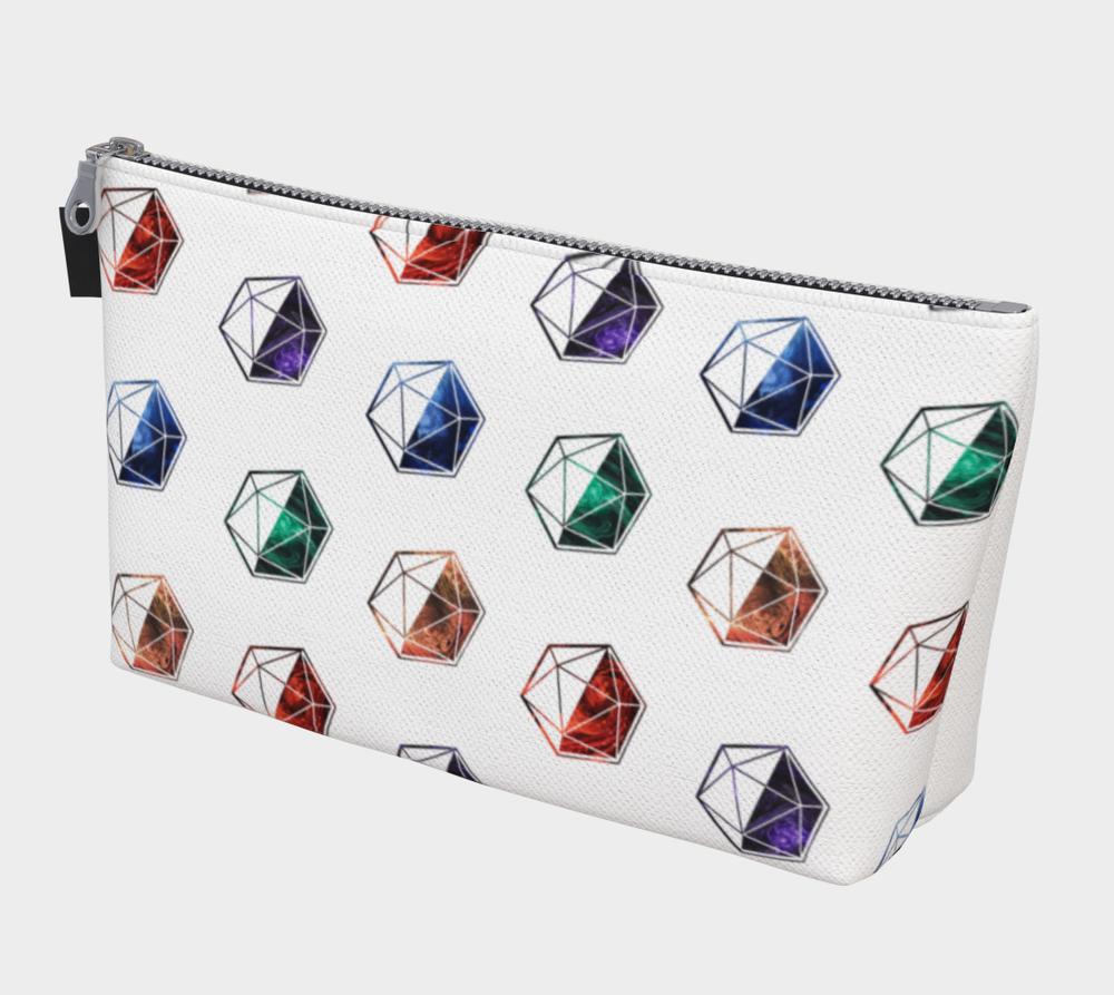Rainbow and White Zippered Mini d20 Dice Bag
