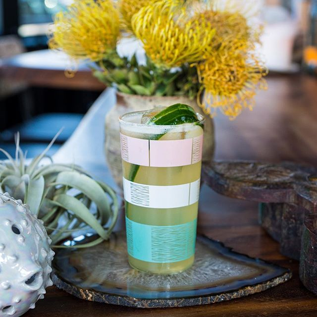 Perfect Sunday day drink = Aruba Cooler  Aloe & cucumber liquor, Ron blanco, honey, basil oil. 🥒🌊🍯