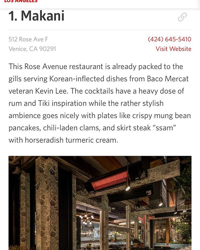 Thank you @eater_la @wonhophoto  https://la.eater.com/maps/best-new-restaurants-los-angeles-heatmap #heatmap #venicebeach #bestpatio