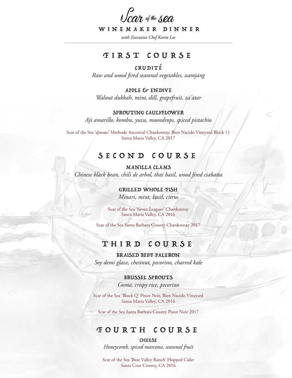 Scar of the Sea - On Thursday, November 15th, Makani will welcome owner and winemaker Mikey Giugni of Scar of the Sea for a special dinner showcasing a selection of wines and cider paired alongside a menu created by Makani Executive Chef Kevin Lee. Dinner guests will have the opportunity to engage in conversation and learn firsthand about the project and his winemaking approach.Michael Brughelli and Mikey Giugni met while Mikey was in his final years of college at Cal Poly.They became friends based on their shared interest and fascination of wine and the ocean. Scar of the Sea is producing and focusing on wines and ciders made from vineyards and orchards within the Central Coast of California. All are influenced by the sea, with maritime soils and climates. They produce wine and cider that express the terroir of the coastline they call home. The wines are meant to show vintage, nuance, elegance, depth and charm and are made with minimal intervention.This is the first dinner of the ongoing monthly producer series hosted by Makani Wine Director, Kyley Jacoby. These dinners came from a deep passion for wines produced in the states, the vineyards and the individuals who farm them.Details:Date/Time: Thursday, November 15th at 8:00PMPrice: Tickets are $120 inclusive of food, wine and service charge.Reservations: Space is limited-to purchase tickets follow this.BUY TICKETS