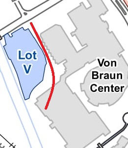 VBC Parking - The Von Braun Center has an underground parking garage that offers convenient access directly into the VBC complex. The entrance is directly across from Pollard off of Clinton Ave. Drive past Lot V and down the ramp.Cost: $10