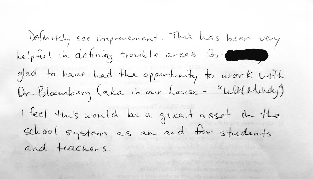 Letter written by the mother of 8-year old patient E.B. She was recommended vision therapy to improve her eye tracking, focusing, and letter reversals.