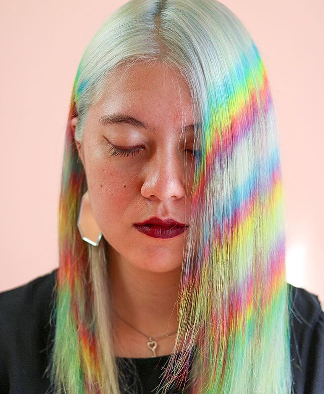 🌈 Rainbow 3 ways 🌈 3 way collab with @makhairbeauty @blondieshair and I. Using @trilliontones and @simsensitive #colormatch down to the wire here. I feel like I'm forgetting so many things! . . . #behindthechair #thebtcteam #btconeshot19_collaboration