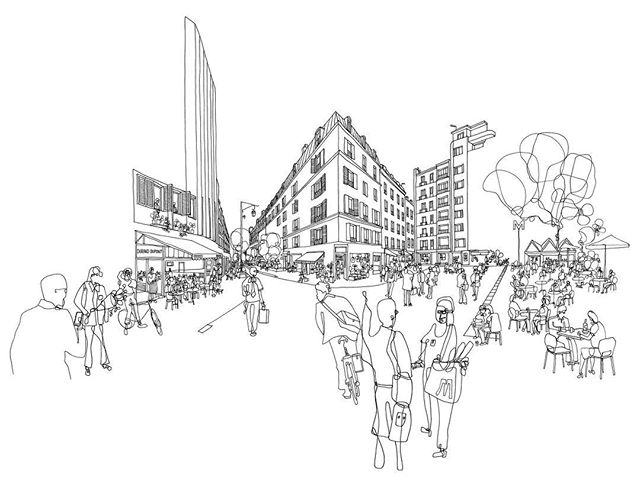 Here are a selection of drawings that form part of an illustration commission for a new building for BNP Paribas REIM located at 185 Charles de Gaulle in Neuilly, Paris. The site for the building, designed by Arte Charpentier Architectes is between the Arc De Triomphe and La Defense. The main aim of the drawings was to bring the interior spaces alive and highlight it's neighbourhood in terms of amenity. It's been fantastic working with impact communication and design, (@abricotmenthe), Kreaction and BNP Paribas REIM on bringing this project to life through drawing. Swipe for more. #illustration #bnpparibas #impactdesigncommunication #kreaction