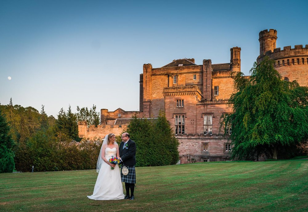 Dalhousie Castle - Dalhousie is the perfect fairytale wedding venue. Elegant and full of character, this is a popular venue for those eloping to Scotland. Check out some gorgeous photos from Jonathan and Adele's stunning wedding, including the owl ring delivery from the onsite falconry.