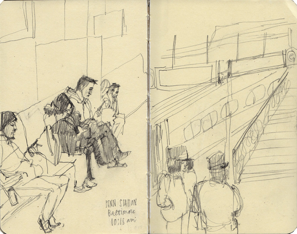 Penn Station Baltimore - passengers waiting for the train to washington dc and a conductor meeting.