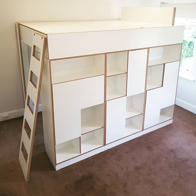 Its a BUNK BED! I thought I had better finish this project and end the suspense. After hundreds of DM's guessing what this project was going to end up as (a big letterbox from @hey_denniss was a favourite) we are done.  This joinery is ready for a bit of Glazing for a barrier then the teen can climb on up and snooze!