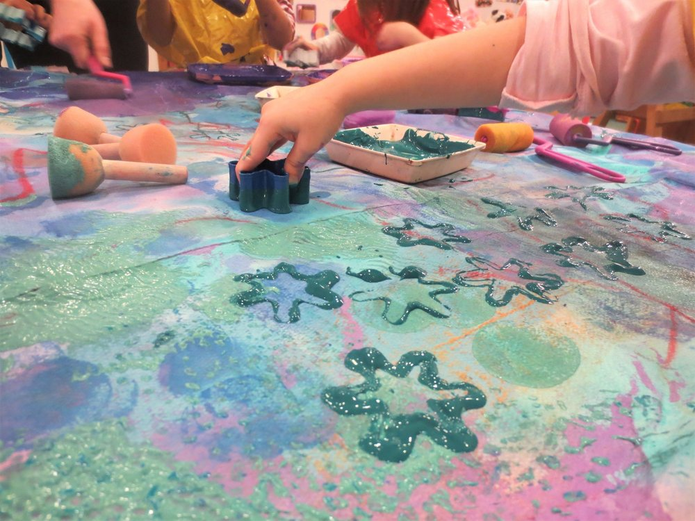 Art every day and every way! - We make lots of art - drawing, painting, collaging, sculpting, printing, stamping...the possibilities are endless.
