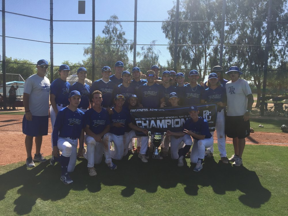 T-Rex Wins the 18U Perfect Game West Memorial Day Classic - Three T-Rex teams competed in the Memorial Day tournament. All the three teams combined went 14-2 for the weekend.
