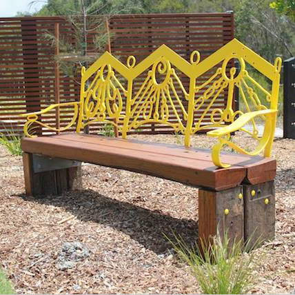 Sun Seat  I  2015 - Old Steel and timber Sun Bistro Byron BayCommissioned by Elements of Byron