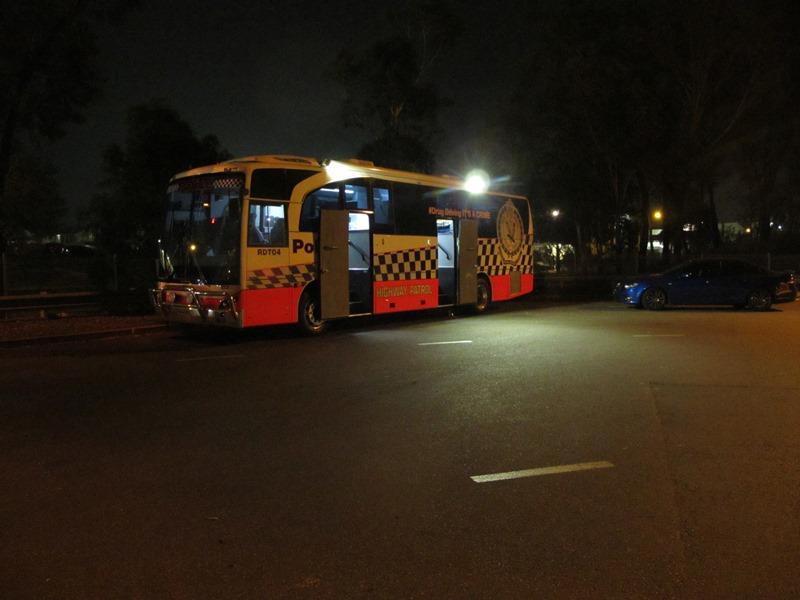 NSW Police standard scene lighting. M4 motorway in Sydney, routine Random Drug testing.