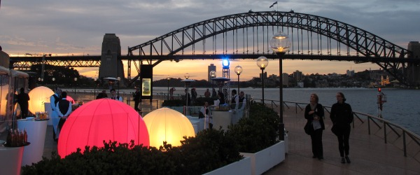 Cocktails at the Opera House forecourt, sunset.