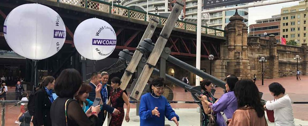 Thousands of delegates at the World Conference of Accountants, at Sydney's ICC. With endless requests for selfies, all 10 backpack ambassadors happily obliged - day after day! Lots of laughter for all.