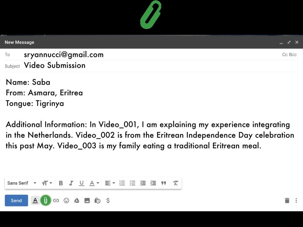 2. email de video - Zet in deze mail jouw land van herkomst, jouw geboortestad en vermeld de taal die je in de film spreekt. Zet in deze mail ook aanvullende informatie, als jij meerdere filmpjes stuurt kan je een korte beschrijving geven over wat je in bepaalde filmpjes doet. Als er verder iets is wat wij moeten weten zet het er dan vooral bij! Stuur de mail naar sryannucci@gmail.com