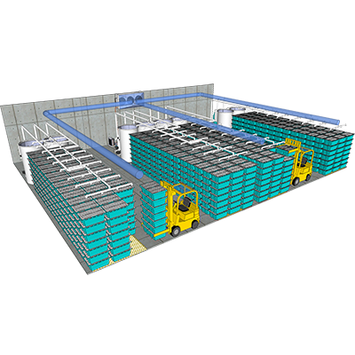 The Traystor® Crate is modular in design and can be stacked vertically seven high for the highest payload per square foot in the industry to serve the needs of large distributors.