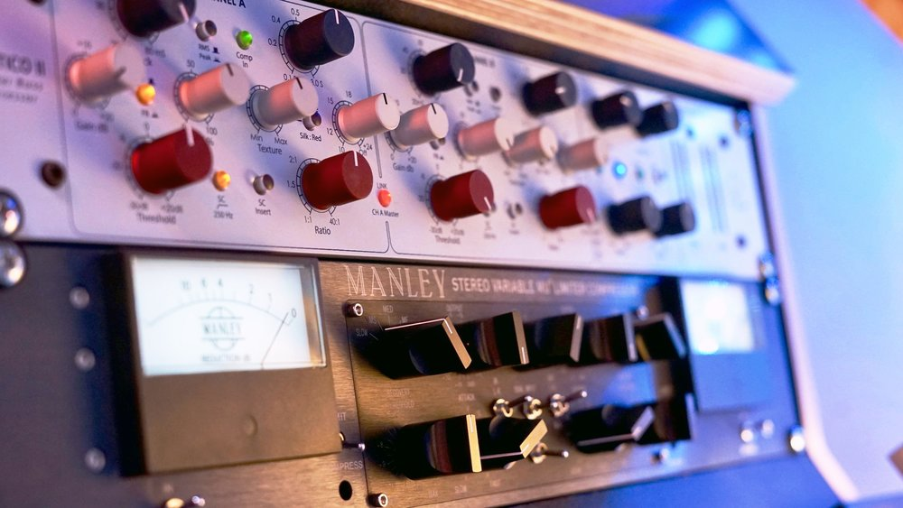 Manley Vari Mu Mastering -  Manley's flagship compressor imparts signature Valve warmth and colour heard on countless top-class records.    Rupert Neve Master Buss Processor -  World Class Analogue Limiting/Compression/SFE, the precision features and circuitry takes any track to new heights.