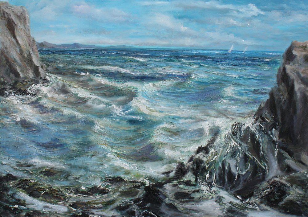 "Welcome to the art of Hazel Griffiths-Jones -   Welcome to my world of art. I hope my paintings inspire, please you or magically transport you to a place of peace or distant memories. I want you to feel the wetness of the water, the warmth of the sun,  the movement of the waves. My work reflects my joy of the Anglesey coastline, distant travels and  the culturally rich history around me.  Painting is a joy and a challenge.  In  2017, a  commission to produce a "" quirky"" tribute to Chester, for Rosebridge in Chester city, led to a new love of painting horses,   with the painting of 'Deva Leader', and the race through the city itself. Onward and upward and hail to fresh challenges.I studied art at school but that was a lifetime ago. I'm generally self -taught, still learning something new every day. After a long career in mental health as a  Consultant Psychologist, my focus has now shifted, however I still want my paintings to have a positive influence on the mental health of the viewer.  Some things never change…If you would like to commission  a painting for your personal or corporate needs then  please get in touch using the contact form, on the menu option."