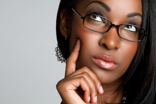 African American woman thinking