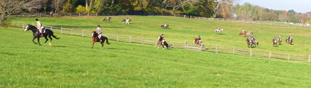 Riders on Horses jumping fences at the Radnor Hunt