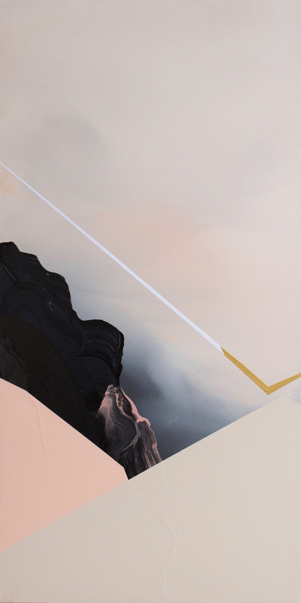 On The Edge  Mixed acrylic medium on canvas 48x24 inches $900.00