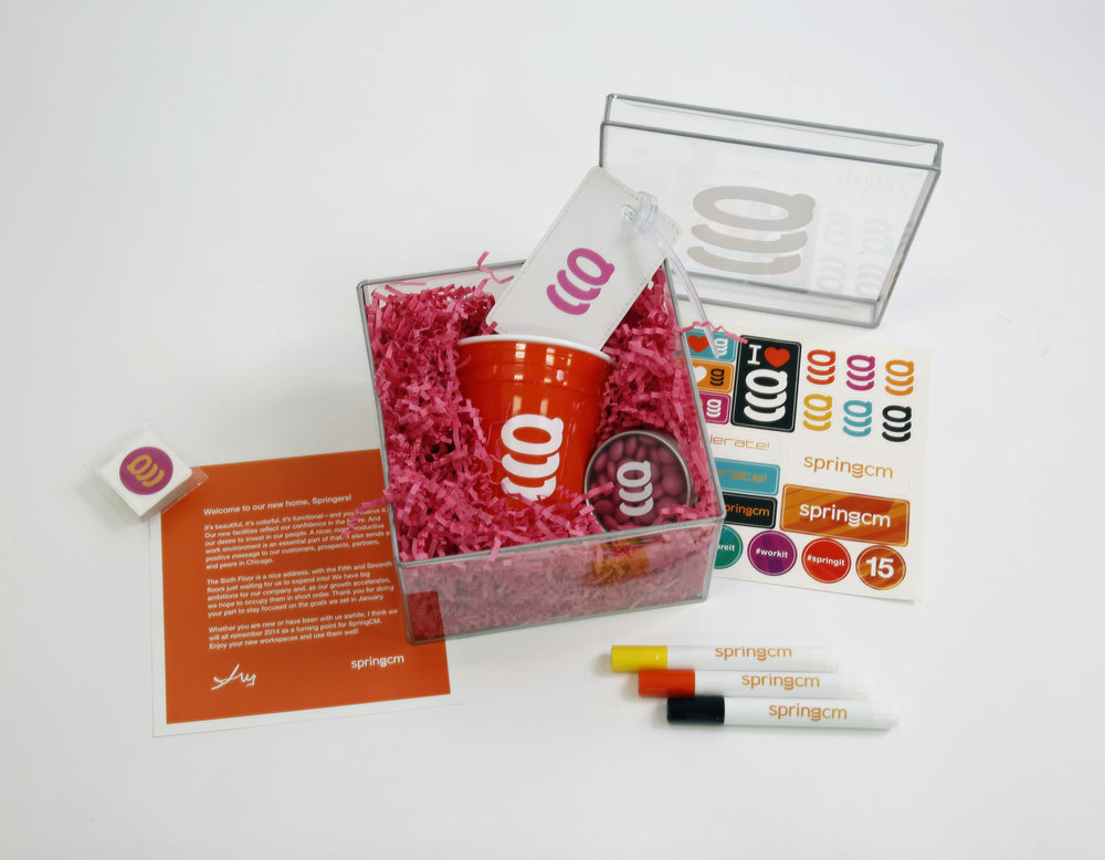 Employees at SpringCM got a spring in their step with these cool HQ Welcome Kits
