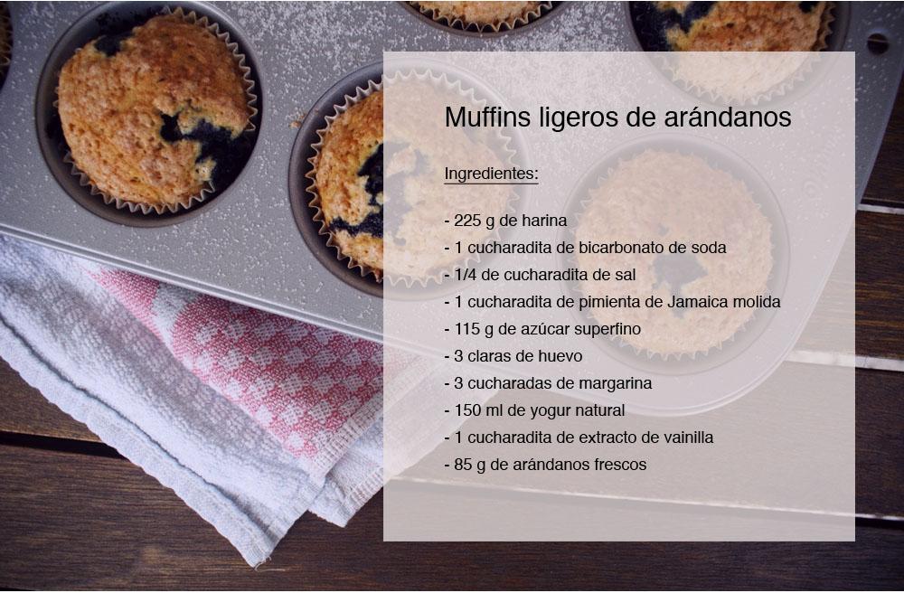 ingredientes muffins ligeros de arándanos