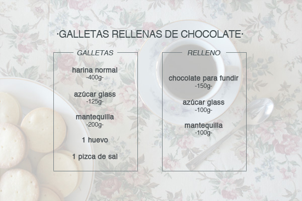 ingredientes galletas rellenas de chocolate