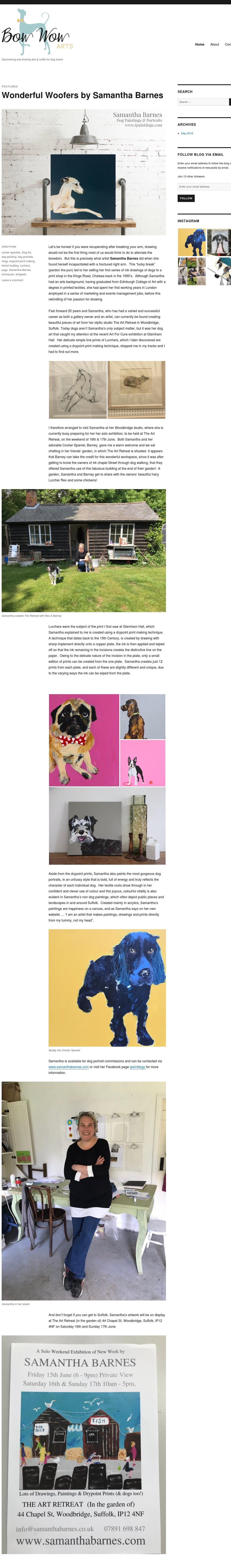 Bow Wow Arts Blog, June 2018 Samantha Barnes Artist ipaintdogs