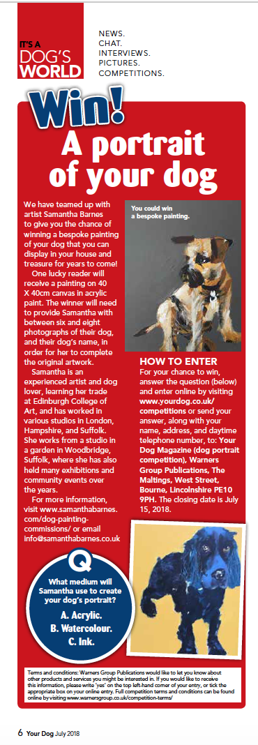 Samantha Barnes Competition Time with Your Dog Magazine.  July 2018