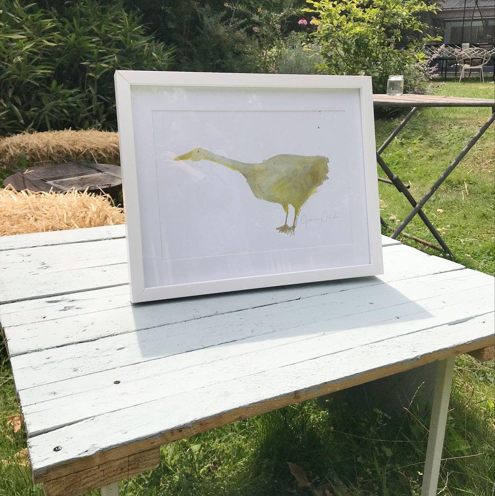 'Goosey Gander' A4 Handsigned Print, Framed.