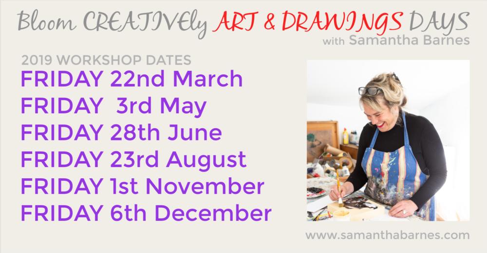 Bloom Creatively Art & Drawing Workshops 2019.  Samantha Barnes Artist