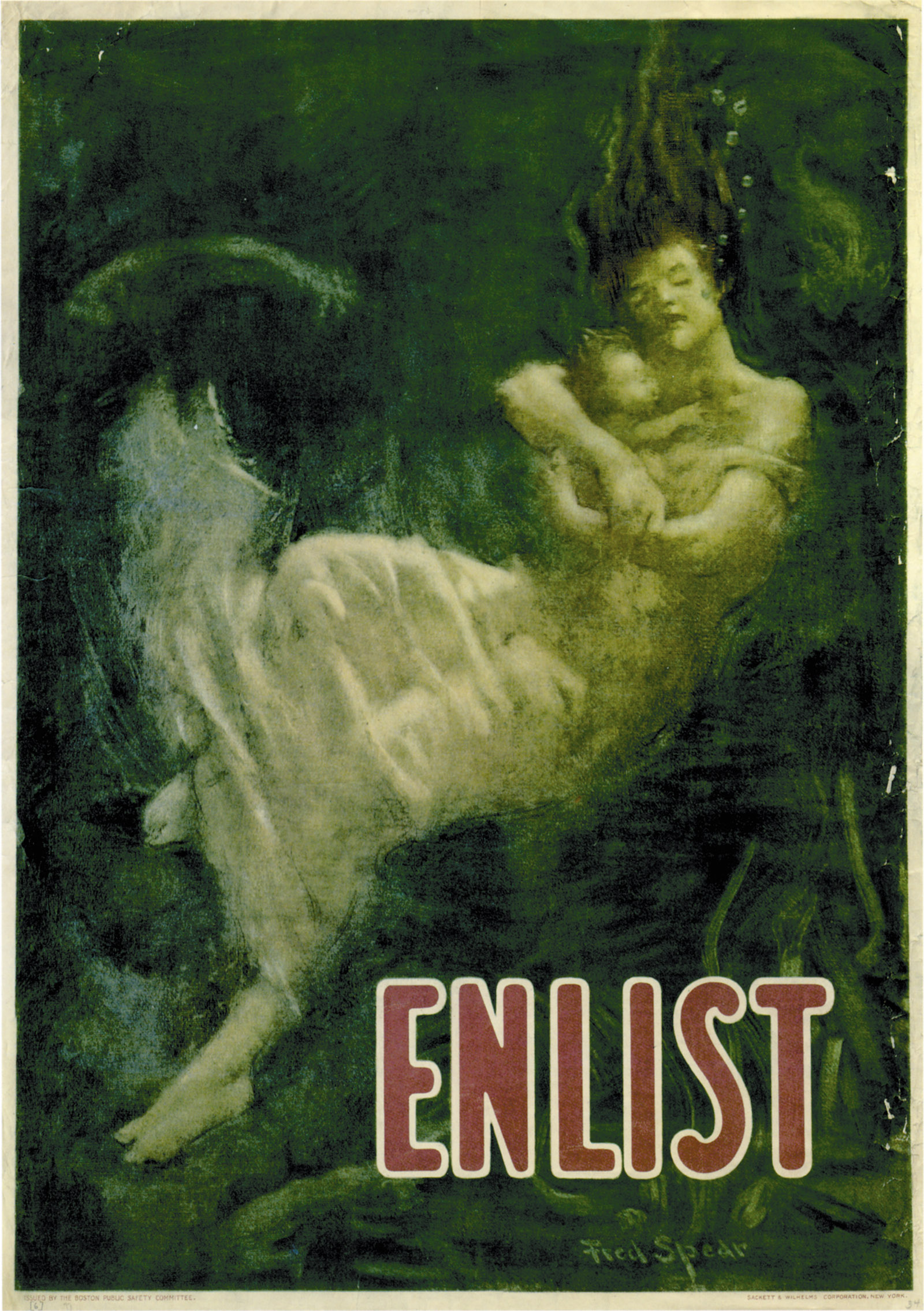 'Enlist'; poster by Fred Spear, 1915. 'The unspoken reference,' James Fenton writes, 'is to the sinking of the <i>Lusitania</i>, an event that made it hard for America to stay out of the war.'