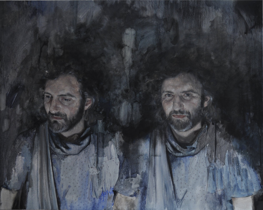 """Rubino as Two Waltons,"" oil on linen, 50 x 40 inches, 2018."