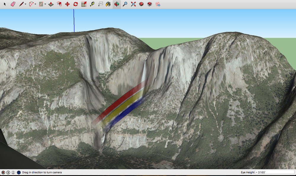 3D model view of Yosemite Valley from Glacier Point showing a predicted moonbow at the base of upper Yosemite Fall.