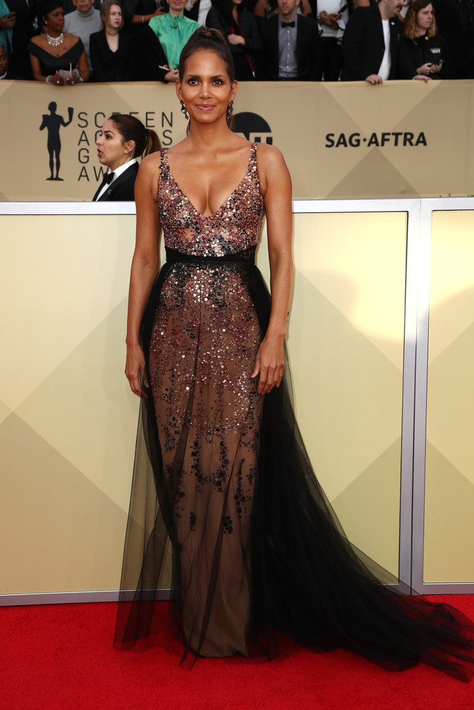 Halle Berry on the red carpet at the SAG Awards carpet