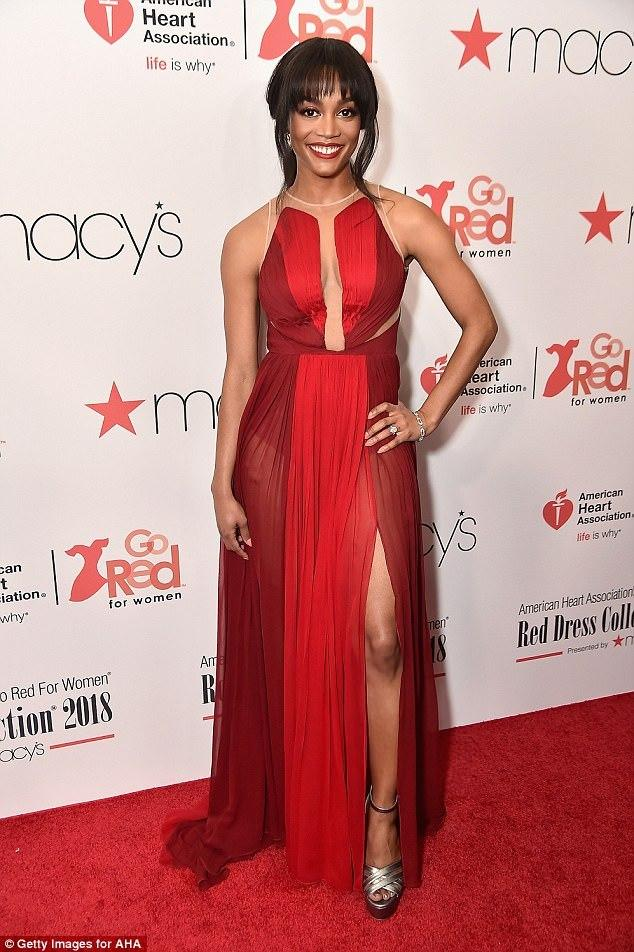 """Rachel Lindsay at the """"Red Dress Collection"""" fashion show"""