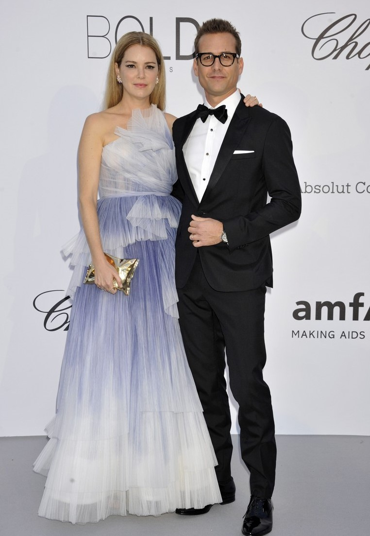Jacinda Barrett (L) and Gabriel Macht arrive at the amfAR Gala Cannes 2018