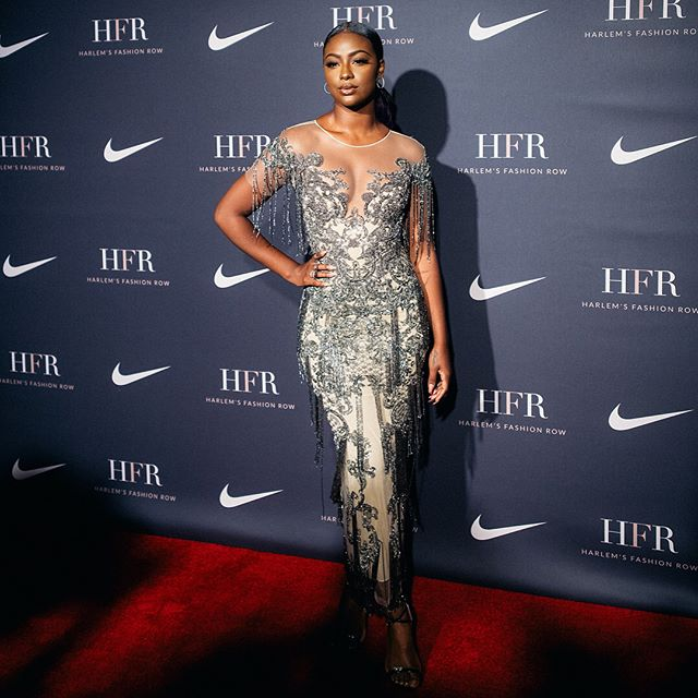 Kicking off Fashion Week with a bang ! The gorgeous @justineskye at last nights Harlem fashion awards wearing Fall 18! #pamellaroland