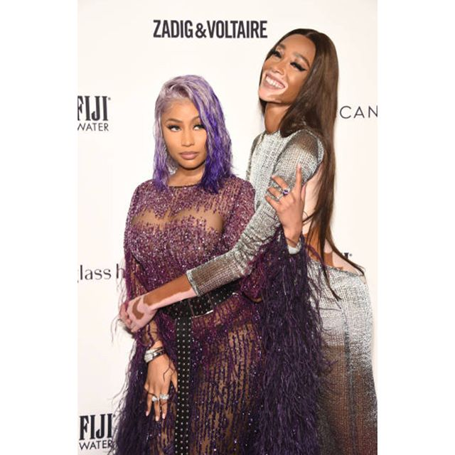 @nickiminaj & @winnieharlow  both in #pamellaroland at tonight's @dailyfrontrow  awards