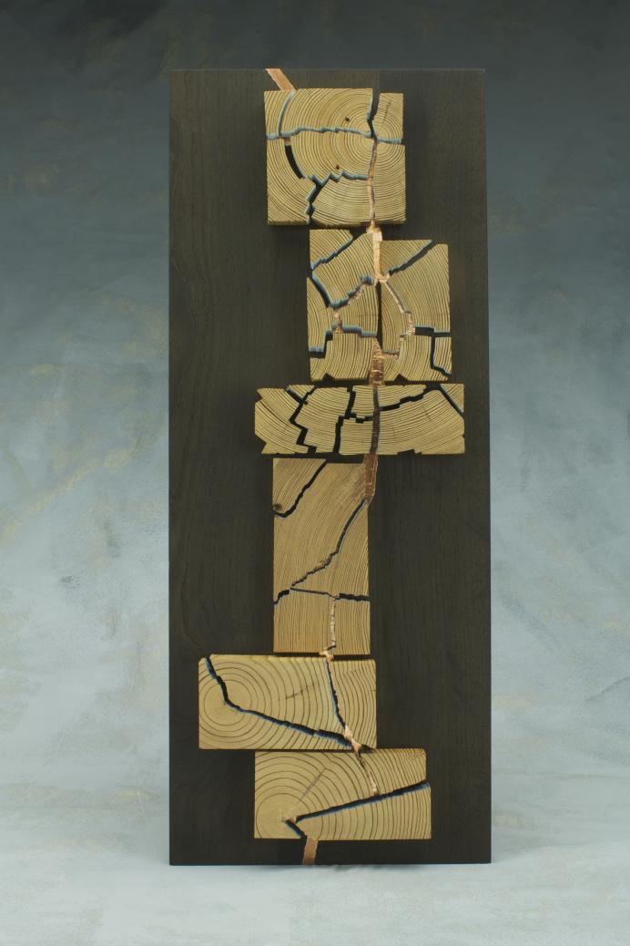antique heart pine and ebonized ash wood sculpture