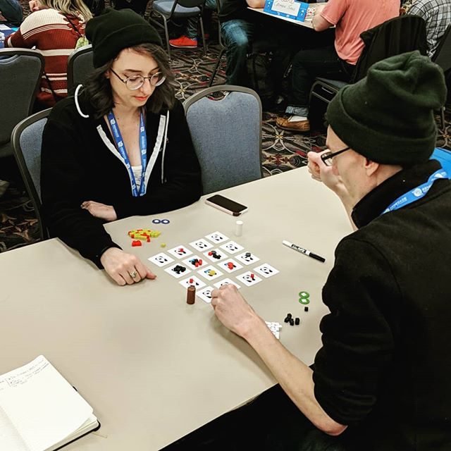 "Playing ""Project Deep Clean"" in the Unpub at #paxunplugged come by and say hello!"